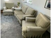 Solid vintage 3 piece sofa suite with two armchairs