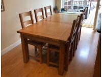 Extendable dining table & 6 chairs- Side table - Side table with 2 drawers. Can be sold separately