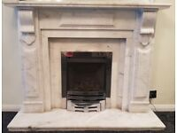 STUNNING POLISHED MARBLE WHITE/GREY MANTELPIECE / FIRE SURROUND + GAS FIREPLACE