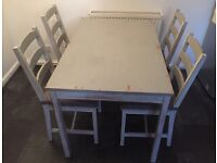Shabby chic kitchen table & 4 chairs