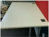62 white desks, singles and pod/bench desk formation £60