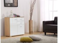 High Gloss White on Oak 2 Doors 2 Drawers Sideboard / Cupboard / Buffet Solo / Chest