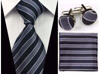 Mens Tie Cuff Links Hanky Set Silk Black & Grey Necktie Handkerchief Cufflinks Wedding