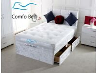 """Storage Cube Divan bed ON SALE !! + 24"""" Free Cube Diamond Headboard by Comfo Beds"""