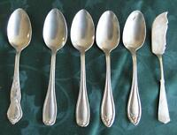 Nickel Silver Spoons and knife-(6 pieces)