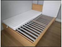 Ikea Malm lightoak double bed frame with slats. No mattress.