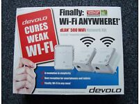 NEW DEVOLO DLAN 500 WiFi x3 Powerline Homeplug triple WiFi Anywhere Network Kit