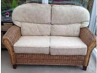 Wicker 3 Piece Suite. Settee and 2 Chairs
