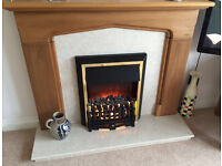 Oak effect and cream marble fireplace