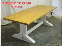Chunky farmhouse refectory-style kitchen/dining table. New. Handmade in Wales.