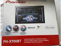 Pioneer CD RDS Receiver (FH-X700BT) Double Din - with USB, MP3 & Bluetooth in original box