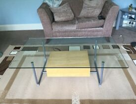 Glass Topped Coffee Table with Beech Drawer H16in/41cmW51in/130cmD29.5in/75cm