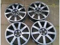 ALLOY WHEELS AUDI VW 5X100 REFURBISHED WITH TYRES AND CAPS