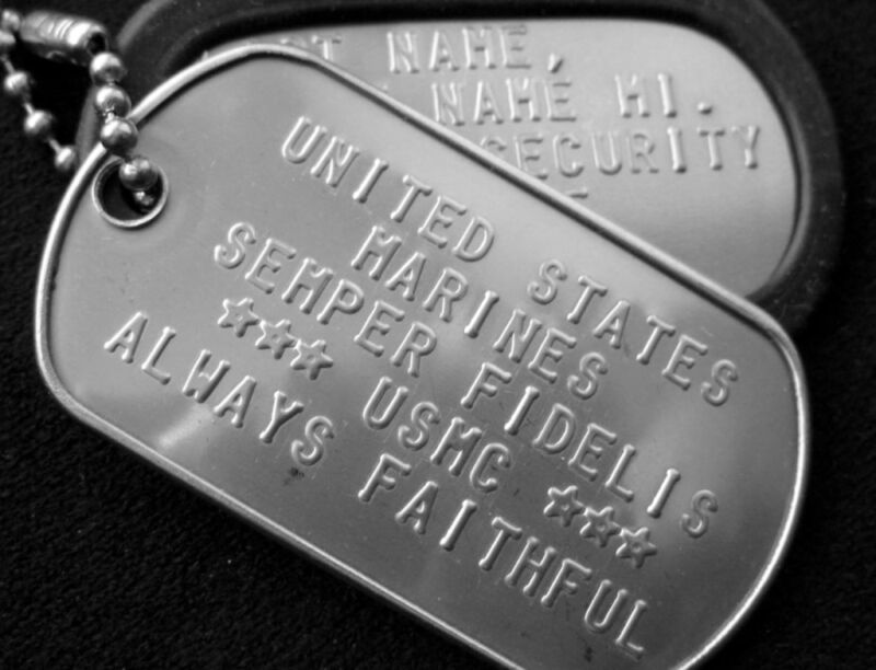 GI ISSUE DOG TAGS W/ EMBOSSING 2 EA, DULL or SHINY, SIGNS @ ; STAR