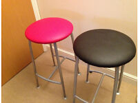 2 X foot stool red blaze and black design by Ness company Made in UK