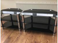 TV Stand (tempered black glass)