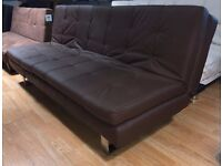 New Dark Brown Dual Folding 3 Seater Faux Leather Sofa Bed (Free Local Delivery)