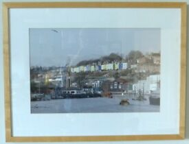 Unique framed photograph of Clifton Wood from Cumberland Wharf, Bristol