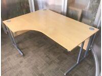 Left Hand Beech Radial Office Desk - 160x120x73cm