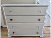 Shabby Chic Look Solid Pine Chest Drawers.
