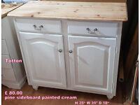 pine sideborad painted cream shabby chic style