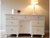 Vintage Pine Painted White Sideboard Dresser Chest of Drawers