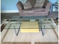 Glass Topped Coffee Table with Beech Drawer H16in/41cm W51in/130cm D29.5in/75cm