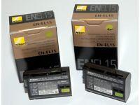 2 x Genuine Nikon EN-EL15 Battery (version Li-ion20) Excellent Condition
