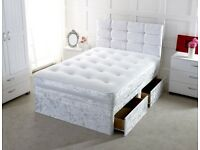 🌈🌈MANUFACTURED IN THE UK🌈🌈DOUBLE CRUSHED VELVET DIVAN BED BASE WITH DEEP QUILTED MATTRESS
