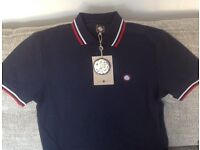 Pretty Green Men's Navy with red stripe polo shirt - small