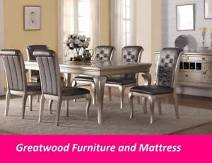 Modern dining table set with tufted grey leather chairs for $1299