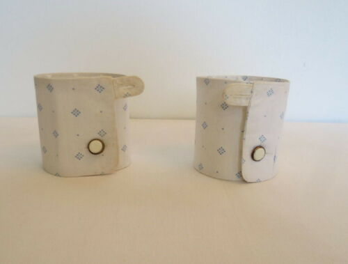 Antique Detachable Shirt Cuffs - White With Blue Spots