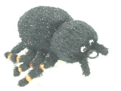Halloween DECOR Fuzzy Black SPIDER Pull Cord VIBRATING Beaded Legs Fun (Fuzzy Spiders)
