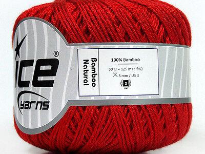 Lot of 6 Skeins Ice Yarns BAMBOO NATURAL (100% Bamboo) Hand Knitting Yarn Red