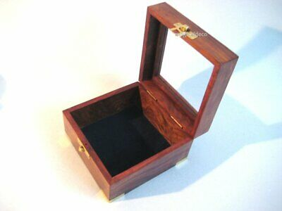 Decorativo Caja de Madera con Tapa de Cristal