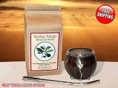 YERBA MATE KIT - Alpaca Silver Yerba Mate Gourd and Bombilla - Free Shipping