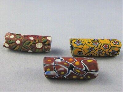 Three Antique Venetian African Millefiori glass trade beads pretty colors.