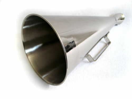 Large Megaphone Made of Brass, Nickel Plated 13 3/8in