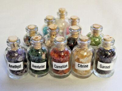 Set of 7 Mini Gemstone Chip Bottles (Crystal Healing Tumbled Gem Stones (Gemstone Crystal Set)