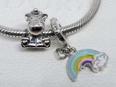 set of 2 Pandora Bruno the Unicorn Charm 797609 Rainbow Love Pendant 797016ENMX  Circle Of Love Charm