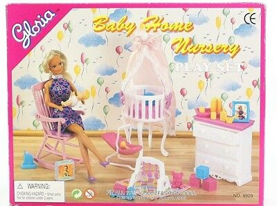 Gloria Barbie Size Dollhouse Furniture Baby Home Nursery Play (Baby Doll Furniture Sets)