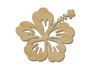 Hibiscus Flower Shape Unfinished Wood Cutout Tropical Theme Variety Of Sizes](Flower Cutout)