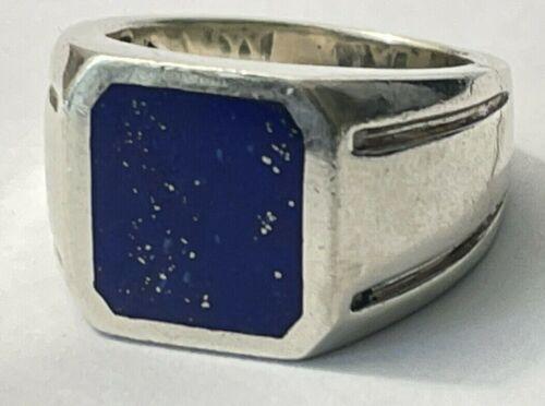 Vintage John Bagley Sterling Silver Lapis Stone Ring Mens Size 11