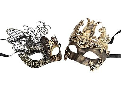 Black and Gold Venetian Couples Wedding Masquerade Costume Mask Set