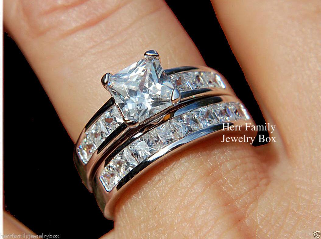 Sterling Silver 14k White Gold Princess Diamond cut Engagement Ring Wedding Set