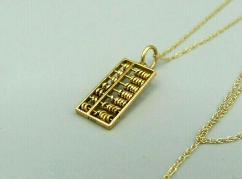"""Fine 1920s Vintage Asian 18K Solid Gold Abacus Pendant Charm 18"""" Necklace"""
