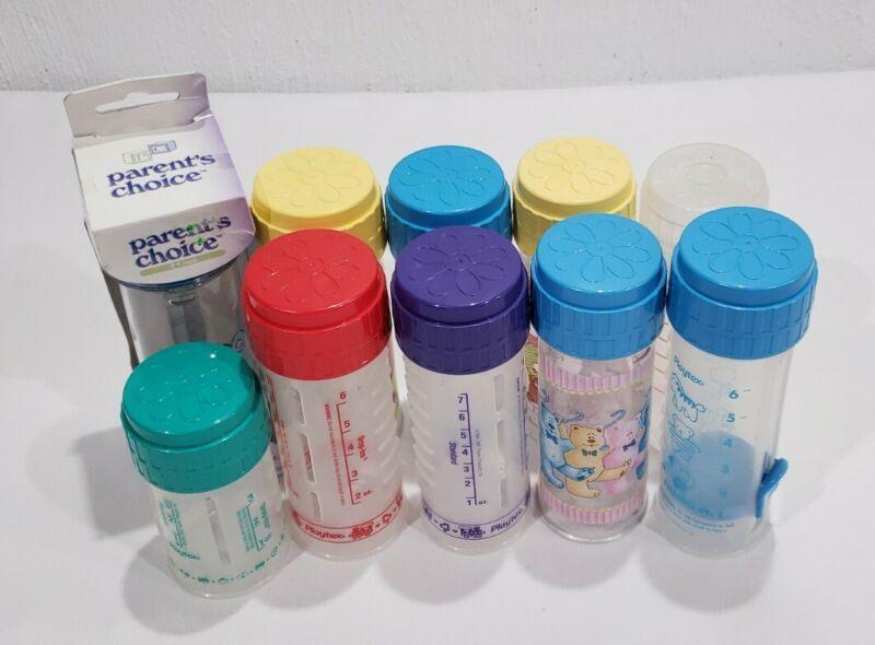 10 Vintage Playtex Nurser Baby Bottles 4oz & 8oz Matching Lid & Ring No Nipples