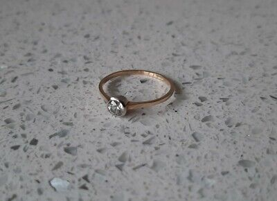 Vintage 14ct Yellow Gold Solitaire Engagement Ring Size P Not Scrap 1.4gm