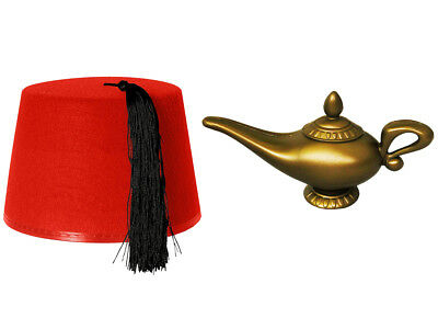 ALADDIN ARABIAN GENIE COSTUME FANCY DRESS RED FEZ AND GOLD LAMP PRINCE (Fez Fancy Dress Kostüm)
