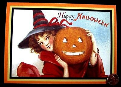 Girl Witch Black Hat Jack o Lantern Pumpkin - Happy Halloween Greeting Card  NEW - Happy Halloween Black Witch
